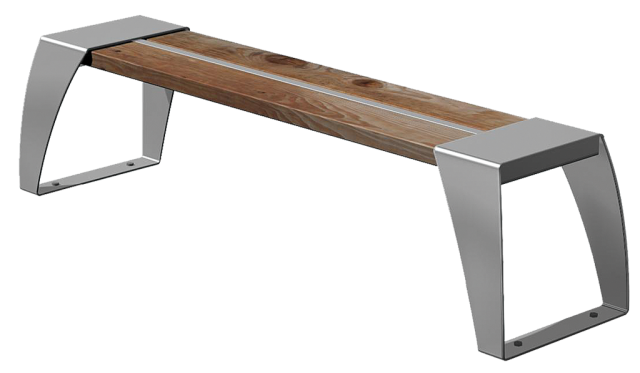 Banc ville inox acier assise en bois possibilit de for Banc inox design