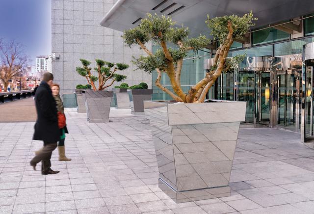 Espace vert urbain centre ville acier inoxydable bac for Espace vert urbain
